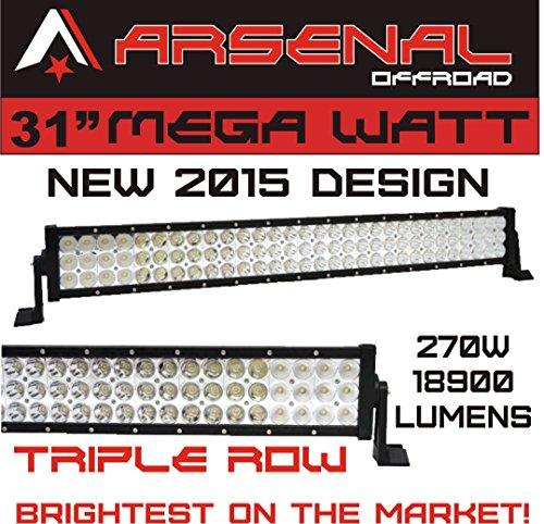 """NEW 2015 31"""" MEGA WATT TRI-ROW Arsenal Offroad LED Light Bar 30"""" of LED's Flood/Spot Combo Beam-3w LED's 270w 18900 Lumen, Off Road, Polaris RZR, UTV, Trucks, Raptor, Jeep, Bumper Rock, FREE Wire Harness"""