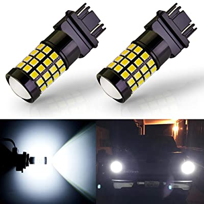 ANTLINE Newest 3157 LED Bulb White (2 Pack), 9-30V Super Bright 1600 Lumens 3156 3057 3056 4057 52-SMD LED Lamps with Projector for Replacement, Work as Back up Reverse Brake Tail Turn Signal Lights: Automotive