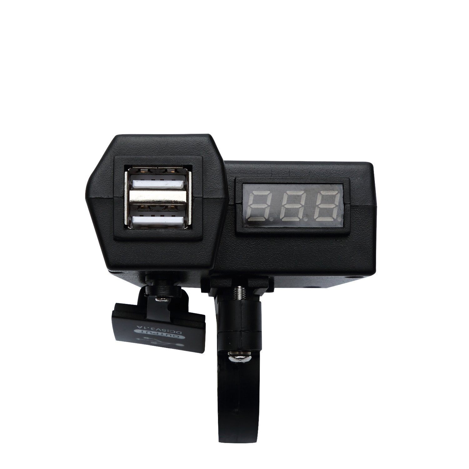 Ocamo Motorcycle USB Phone Charger Voltmeter 3 in 1 with On/Off Switch Dual Power Port