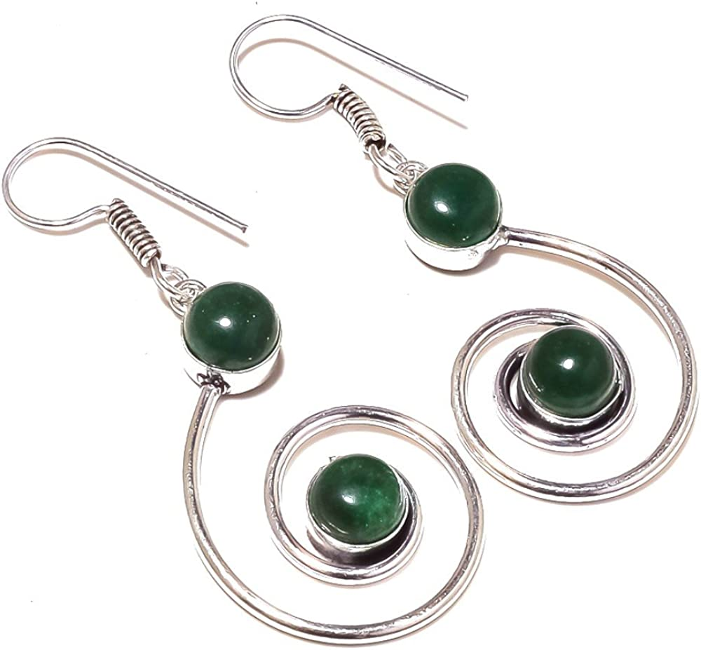 Green Dyed Emerald Sterling Silver Overlay 10 Grams Earring 2.25 Long Fantasy