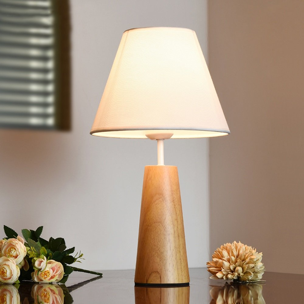 Wooden Table Lamp With Fabric Lampshade Bedside Desk Lights ...
