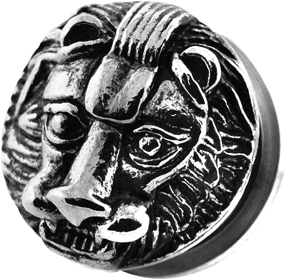 Casting King Lion Face Design 316L Surgical Steel Screw Fit Flesh Tunnel