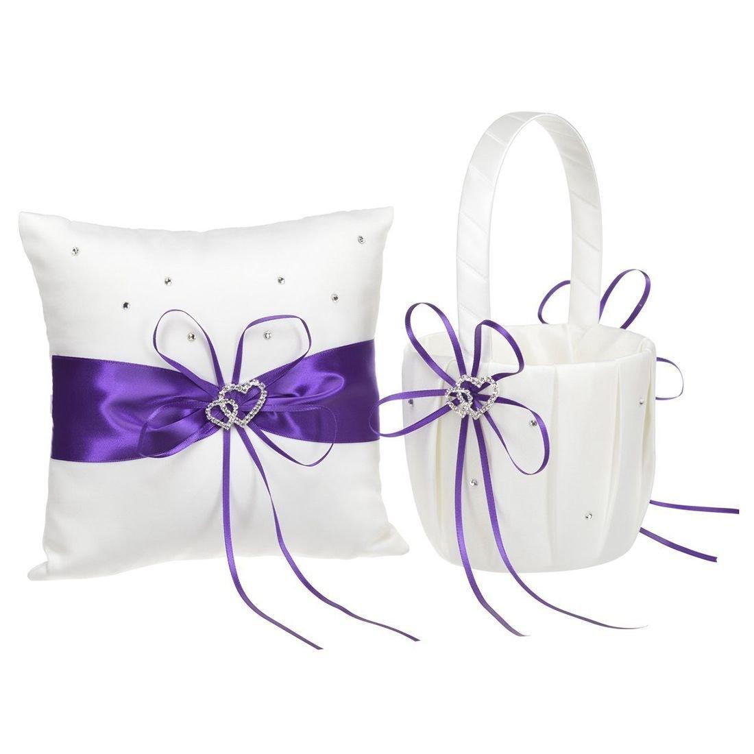SODIAL(R) 2 Heart Rhinestones Ivory Satin Flower Girl Basket And Ring Pillow Set for Wedding Purple