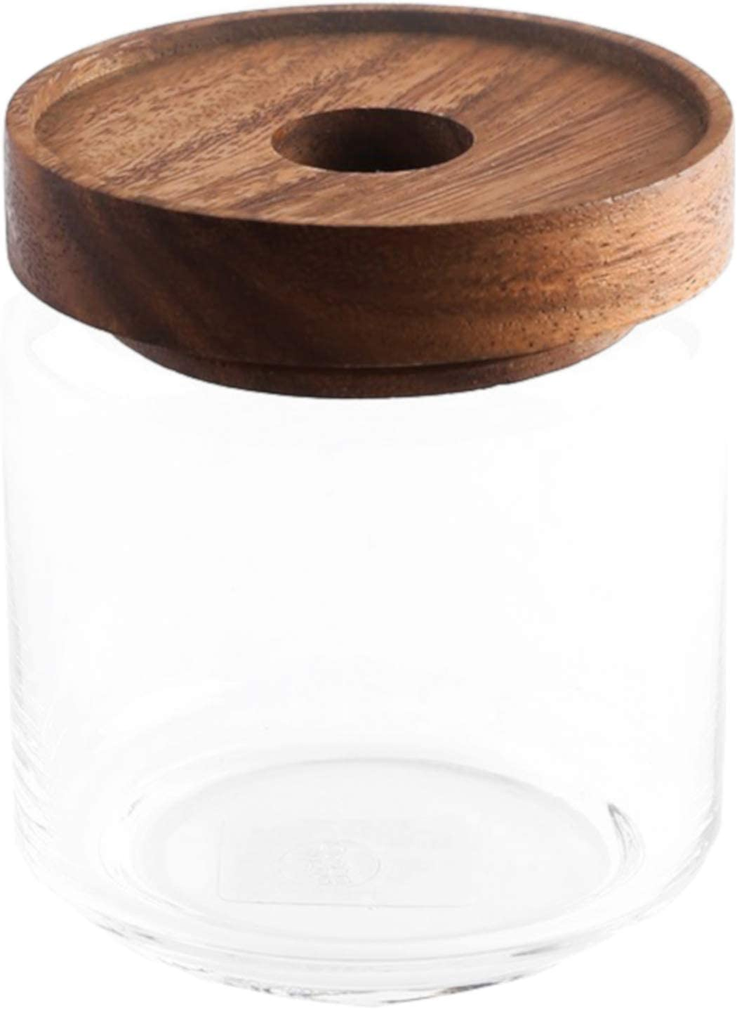 Chabatree グラスジャー 500ml クリア 約直径9×高さ10.5cm アカシア材 木蓋 パッキン付き ST-007