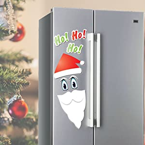 Santa Holiday Fridge Magnet Set - 7 Piece Holiday Decoration Set For Most Metal Doors