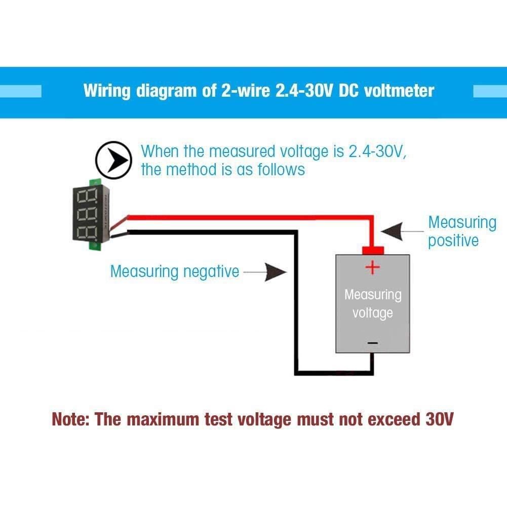 Digital LED Panel de Dos Hilos DC Metro de Voltio de Tensi/ón Calibrador Tester 0,36 Pulgadas en Blanco 5Pcs Volt/ímetro