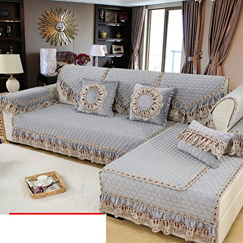 Winter plush European-style sofa cushions Simple fabric modern sofa sets lace arm back scarves-C 90x210cm(35x83inch)