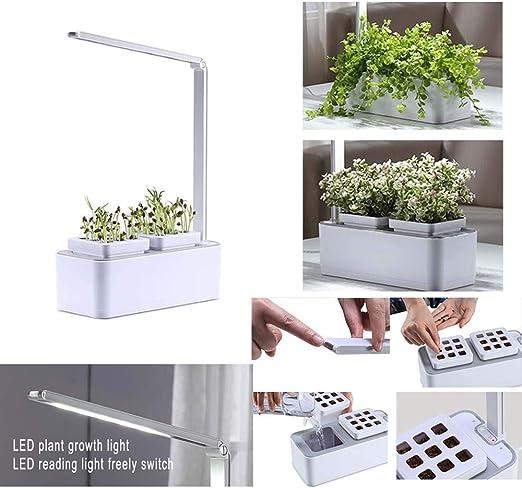 Gmadostoe Jardín Interior Inteligente, hidropónico Sistema para Plantas, luz de Crecimiento LED, Sistema automático iluminación e irrigación LED, para Flores/Frutas/Vegetales: Amazon.es: Hogar