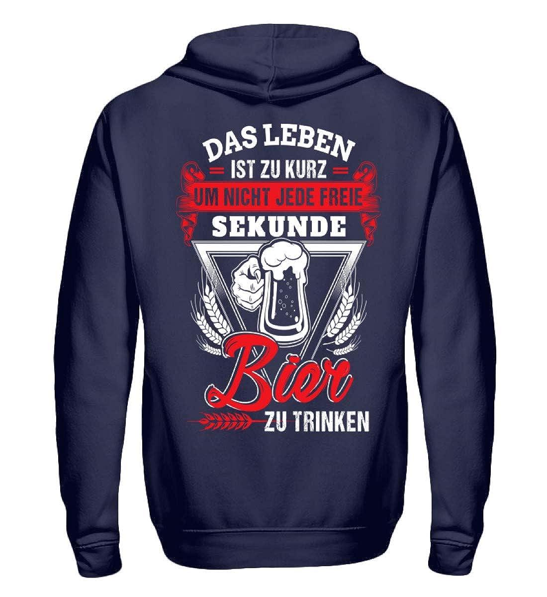 Shirtee Bier - Leben ist zu kurz - Zip-Hoodie