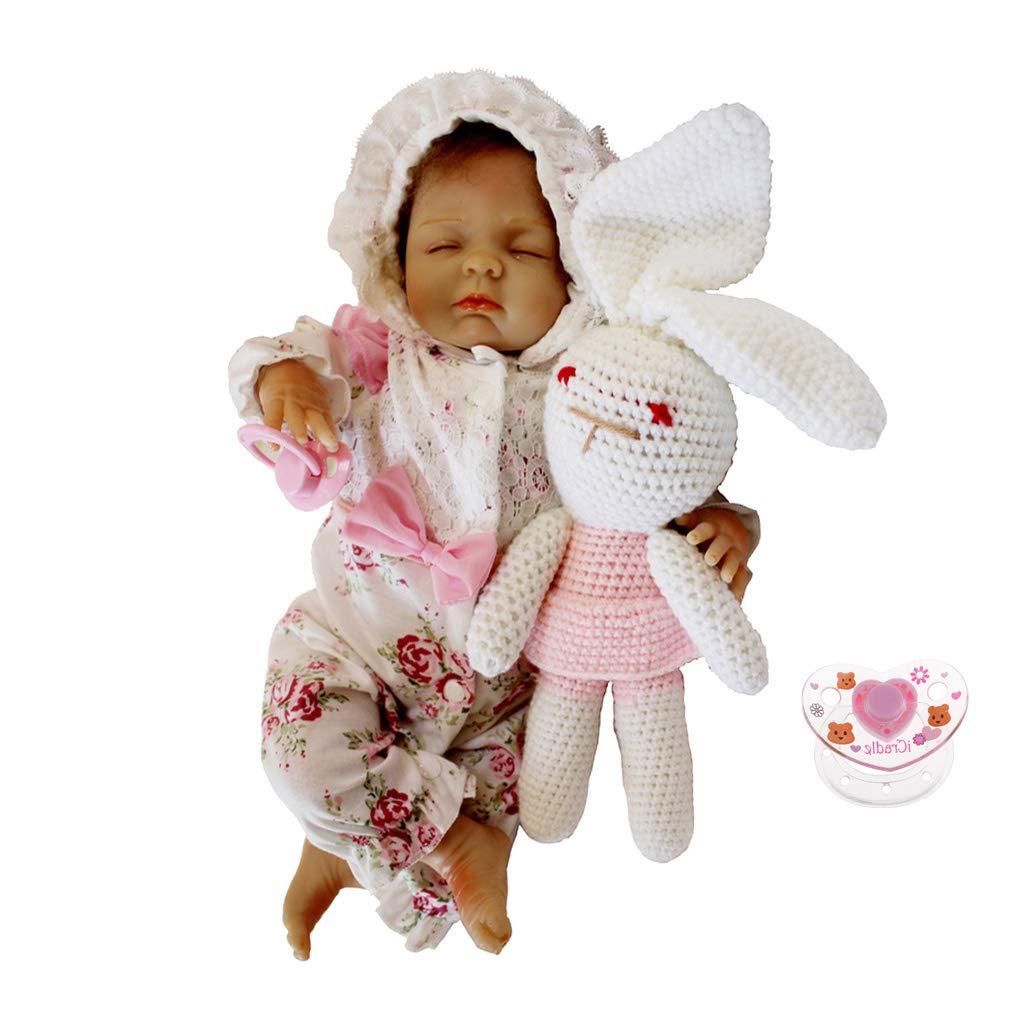 F Fityle Modello Reborn Doll Silicone 18 Pollici + Ciuccio Magnetico in Miniatura + Mini Abito da Abito
