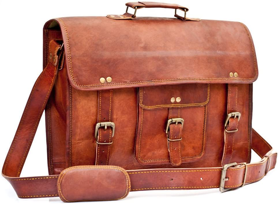 CrazyLeather Vintage Leather Laptop Bag 15 Messenger Briefcase Crossbody Shoulder Satchel Bag