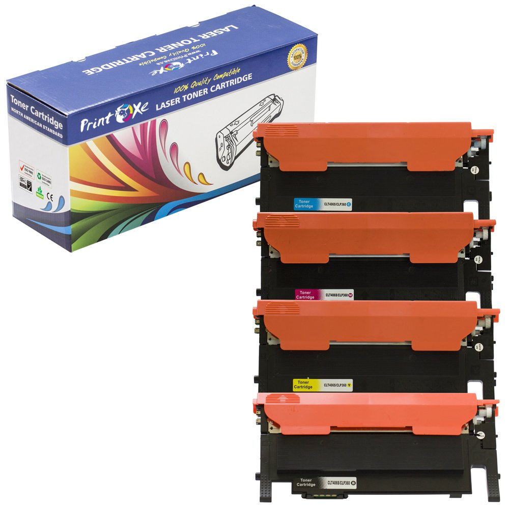 PrintOxe™ Compatible 2 Toners CLT-406S 1 Cyan & 1 Black for Use in Printer Models: CLP-365, CLP-365W, CLX-3305FW, Xpress C410W, and C460FW.