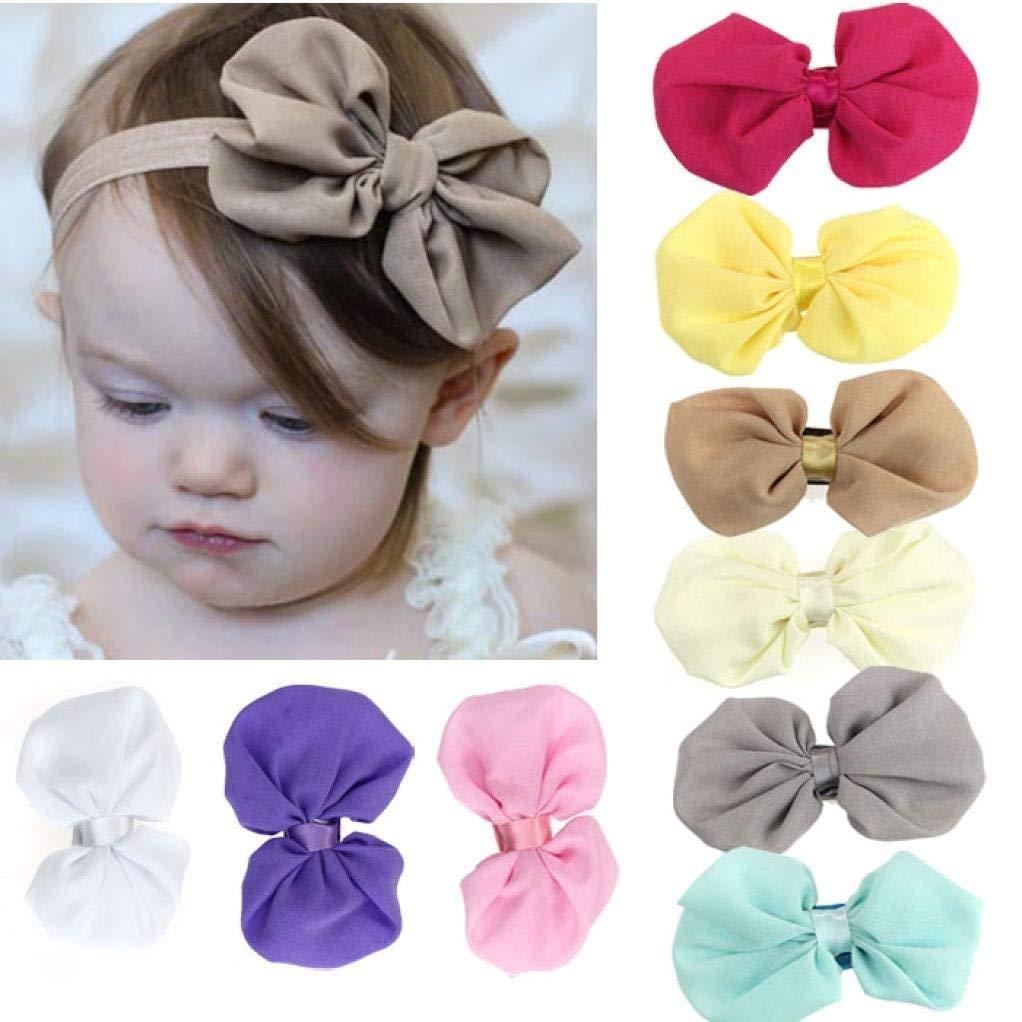 Lot de 9 des bandeaux en coton de cheveux pour bébés, serre-tête élastique d'un style de nœud papillon par Lomire pour les petites filles -- accessoires mignons pour les bébés ou les petites filles, couleur random