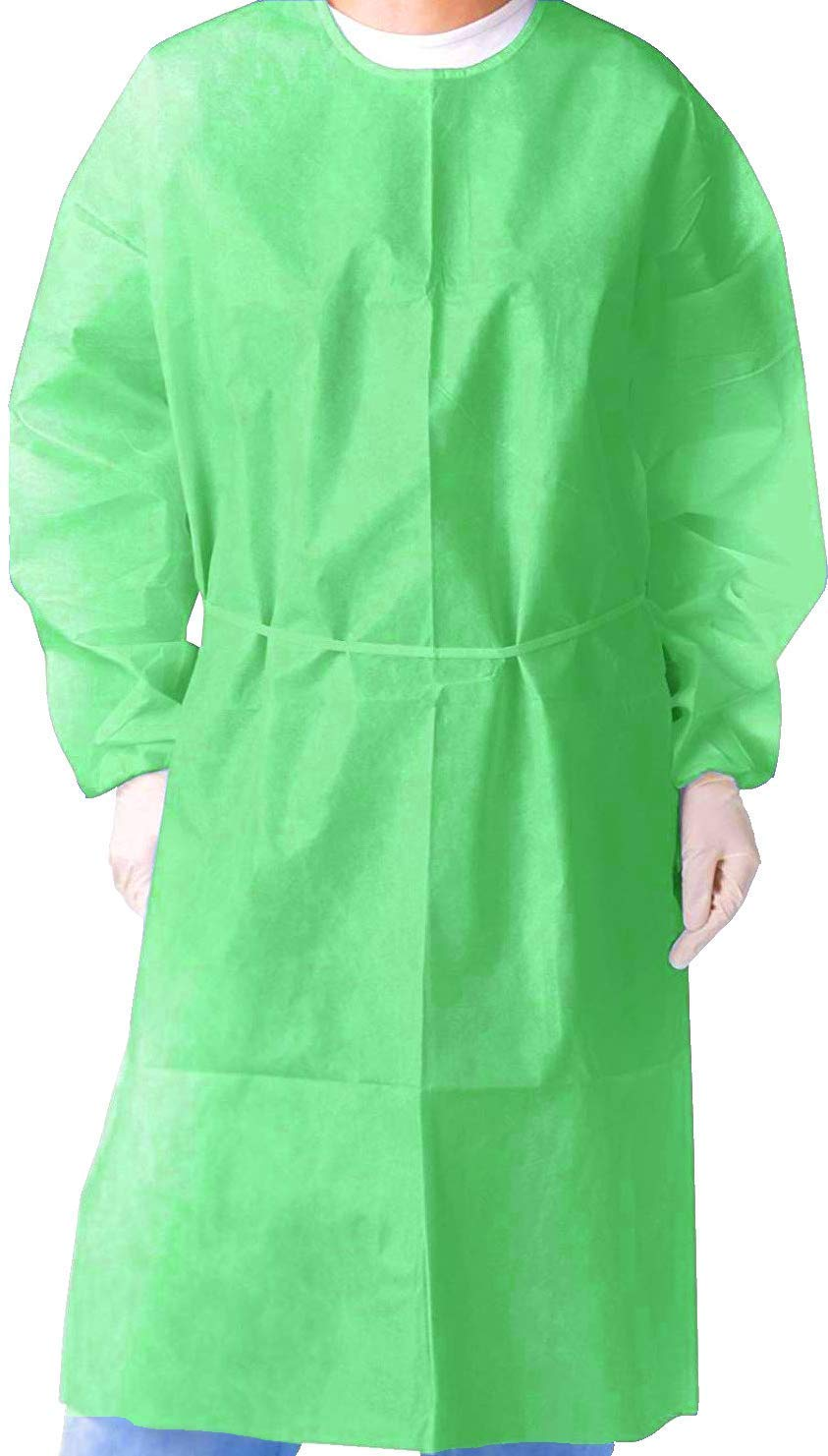 Isolation Gown with Elastic Cuff -Disposable Non-Woven, Splash Resistant, one size fits all (Green- Case/50 pcs)