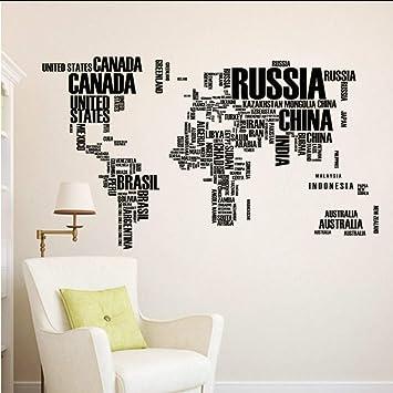 Wsxwga Mapa Del Mundo Con El Nombre Inglés De Los Países Pegatinas ...