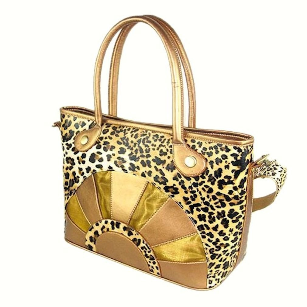Backbone Leopard Print Canvas Pet Carrier with Faux Leather by Backbone