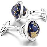 Peora Really Spins Rhodium Plated Blue Globe Earth Cufflinks for Men