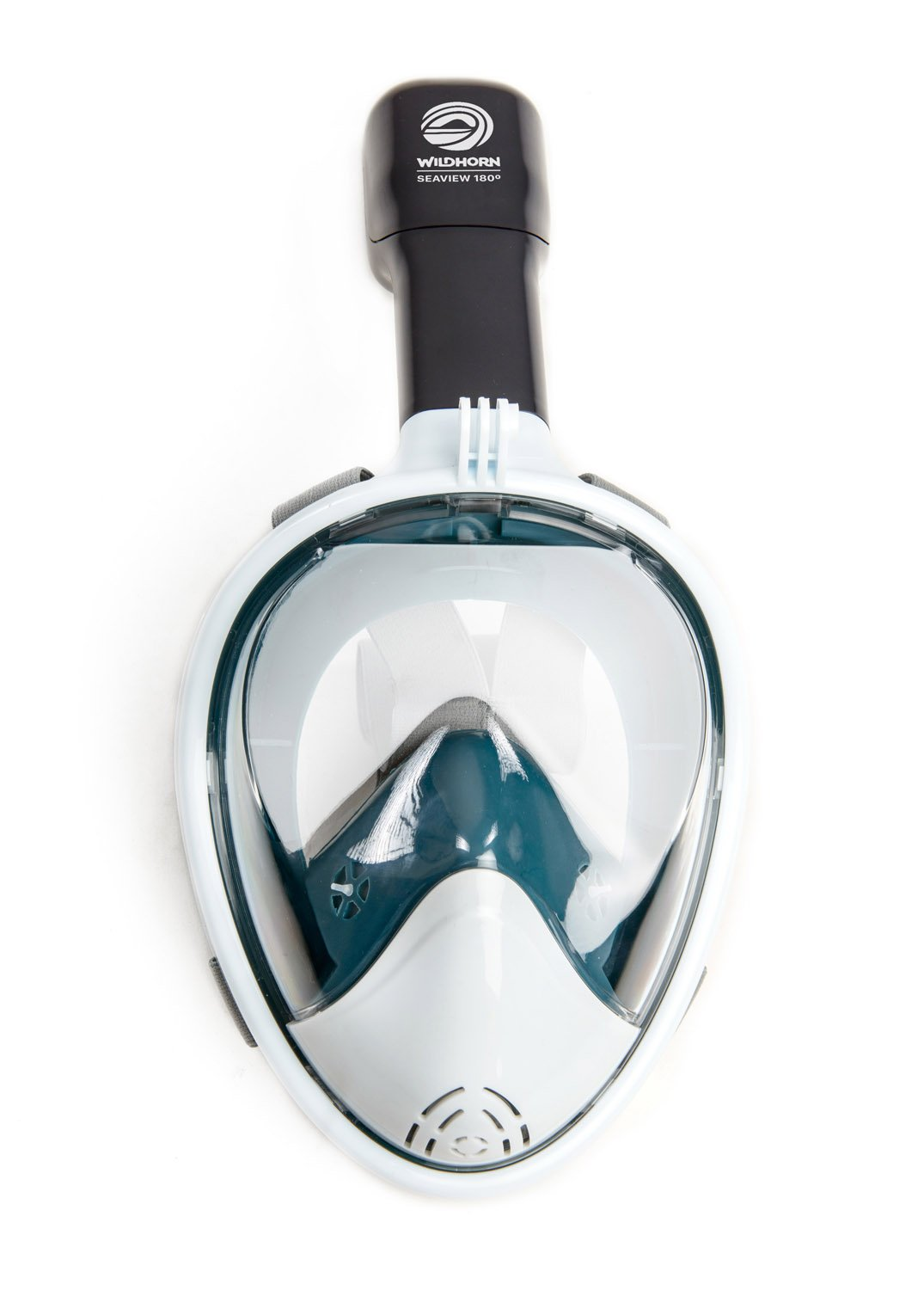 Seaview 180 Degree Panoramic Snorkel Mask- Full Face Design,Panoramic White / Teal,Small/Medium by WildHorn Outfitters (Image #1)