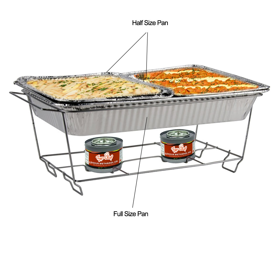 TigerChef TC-20509 Durable Full Size Deep Aluminum Foil Steam Table Pans with Recipe Card, Multi-Purpose Disposable Pans, 21'' x 13'' Size (Pack of 5)
