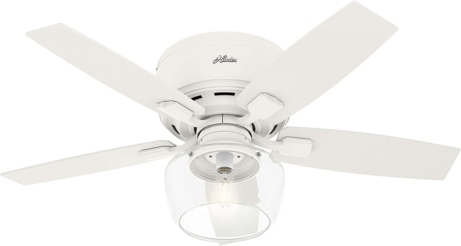 """Hunter Bennett Low Profile Indoor Ceiling Fan with LED Light and Remote Control, 44"""", Matte White"""