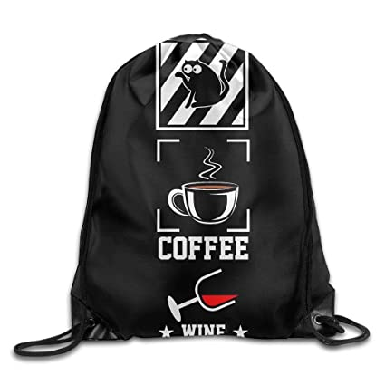 Jack16 Mochila con Cordón para Gimnasio, Diseño de Gatos de café, Cócteles, Essentials