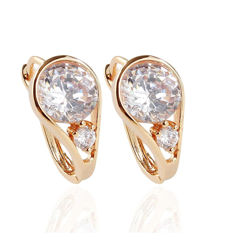 Dana Carrie Orejas colgantes de diamantes único circón ear nail pendientes oro blanco