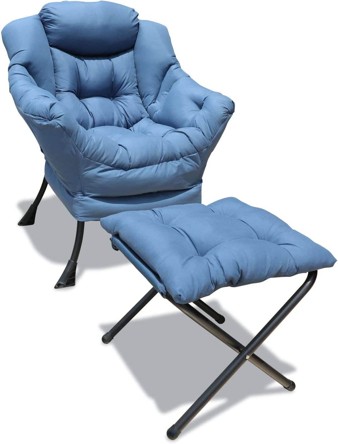 GOLDSUN Accent Chair Lazy Reclining Armchair with Removable Metal Legs and High-Density Foam, Comfy Upholstered Single Sofa Chair for Living Room, Bedroom, Office (Blue with Ottoman)