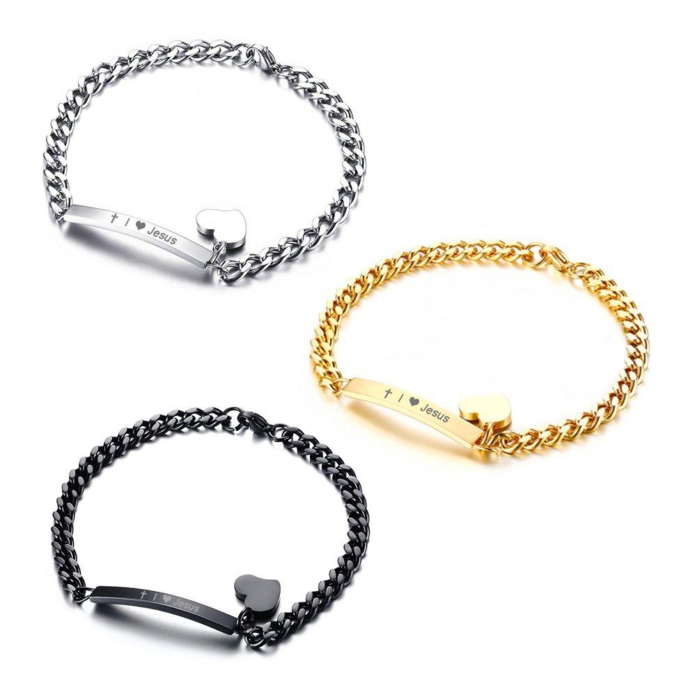 Vnox Bible VerseI ? JesusThin Jesus Stainless Steel Heart Charm Bracelet Christian Gift for Women Girl VNOX Jewelry BR--354SET+KZ-3