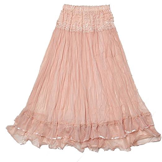 Dehang Womens Boho Lace Gauze Double Layer Elastic Waist Maxi Skirt