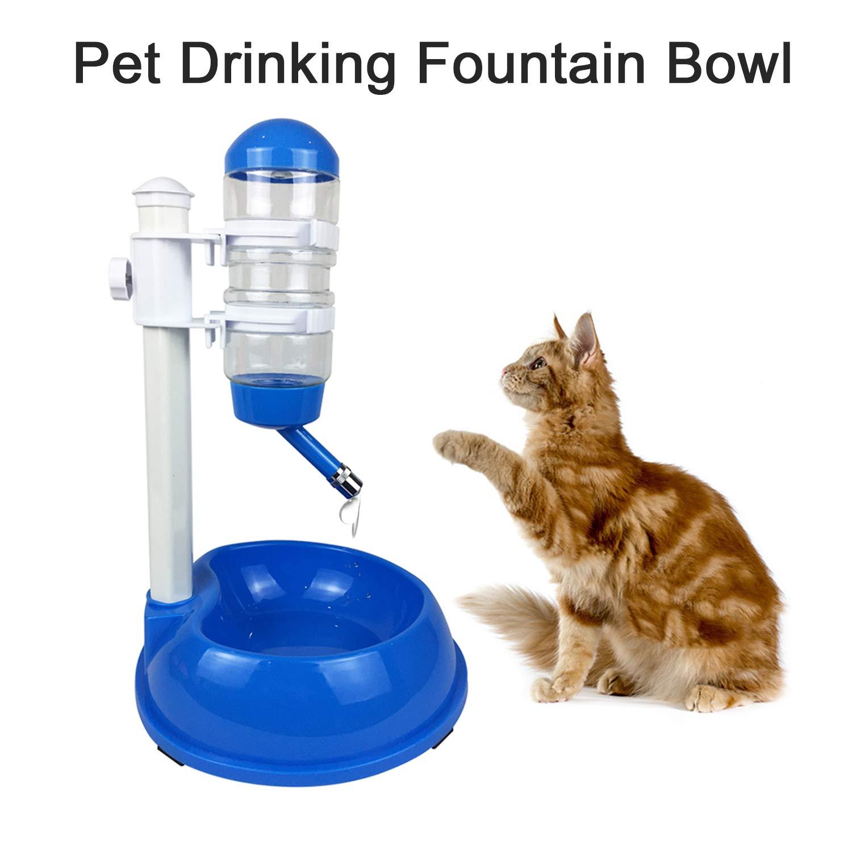 FairytaleMM Dispenser di Acqua per Cani Cani per Gatti Distributore di Bevande in plastica Supporto per Alimenti Ciotola per Piatti Bottiglia da 500ml Bevitore Automatico per Fontana, Blu