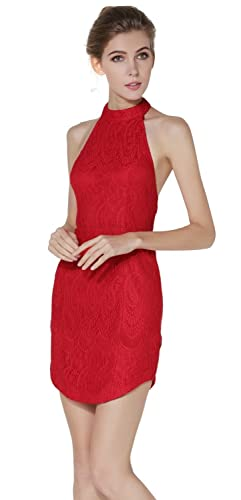 Women Sexy Slim Halter Floral Lace Backless Bodycon Cocktail Evening Party Dress at Amazon Womens Clothing store: