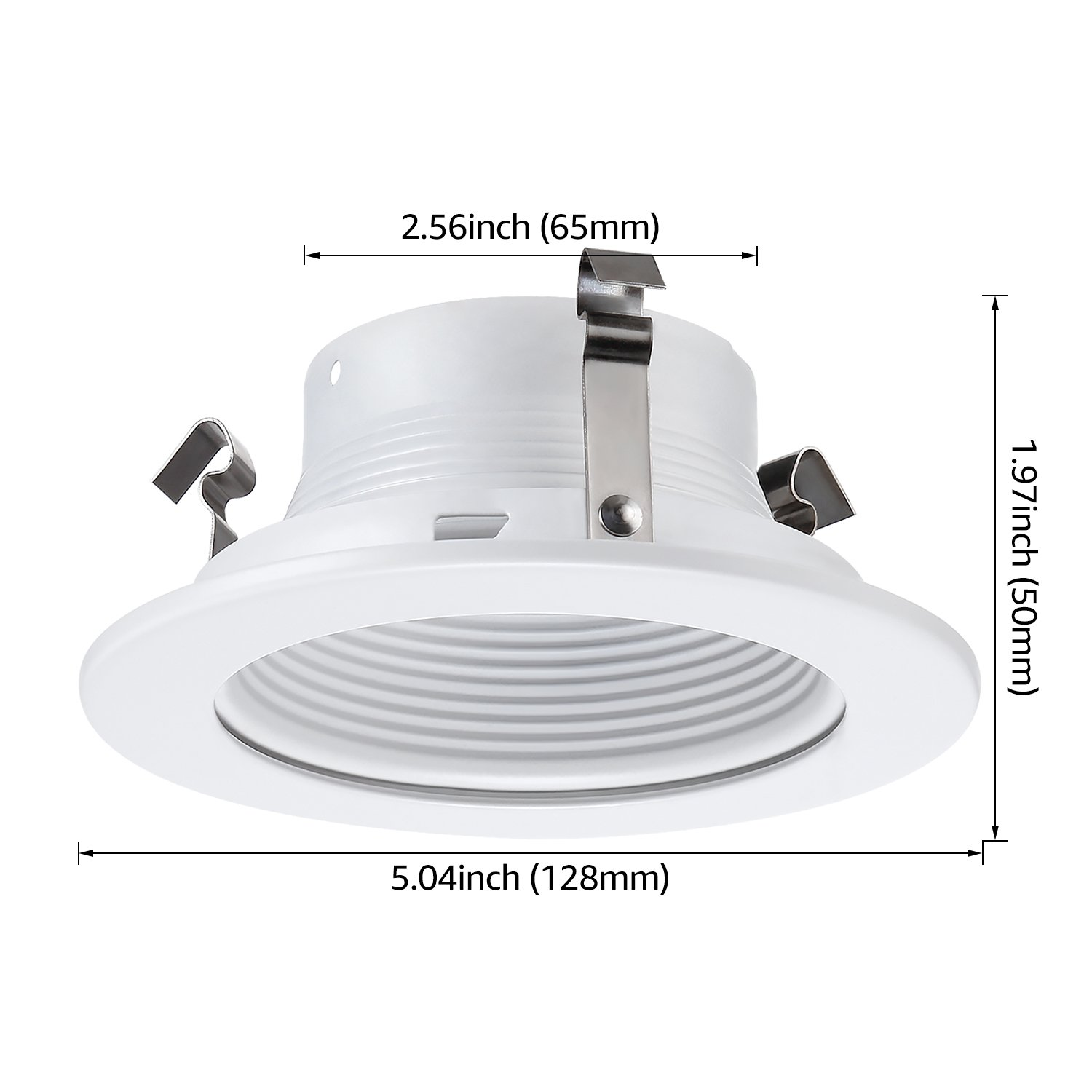 6 Pack 4 Inch Recessed Can Light Trim with White Metal Step Baffle, for 4 Inch Recessed Can, Fit Halo/Juno Remodel Recessed Housing, Line Voltage Available by TORCHSTAR (Image #8)