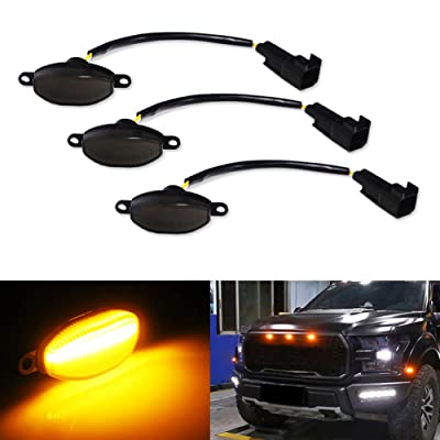 Miniclue 3pcs Smoked Lens Amber LED Compatible with 2010-2014 and 2020-up Ford Raptor Grille Running Lights, Powered by 45 Pieces of SMD LED Lights: Automotive