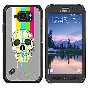 TECHCASE---Cubierta de la caja de protección para la piel dura ** Samsung Galaxy S6 Active G890A ** --Modelo del arco iris Tv cráneo Líneas Gris
