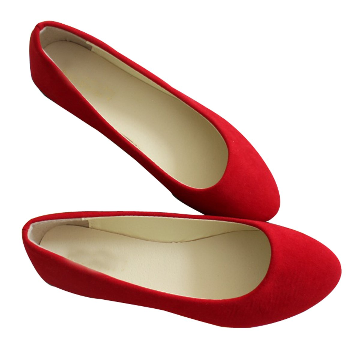 Stunner Women Cute Slip-On Ballet Shoes Soft Solid Classic Pointed Toe Flats by Red 40