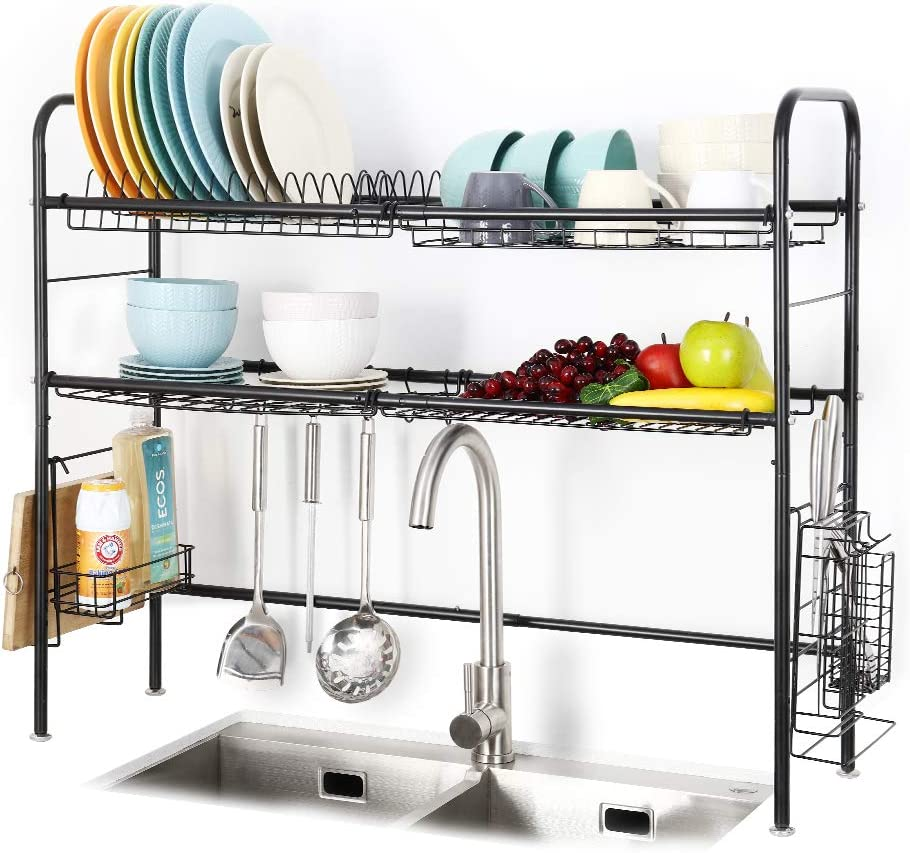 Amazon Com 2 Tier Large Over The Sink Dish Drying Rack 304 Stainless Steel Dish Drainers For Kitchen Sink Length Adjustable Kitchen Counter Orgnaizer Black Kitchen Dining