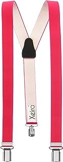 Xeira Colori uni 25 mm di larghezza Bretelle Donna con 3 clips e retro in vera pelle - Fatto in Germania