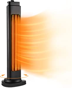 Electric Space Heater for Large Room, Trustech 1500W ETL Certified Radiant Heater, 3s Instant Heat, Heat up 400Sq Ft, 90° Oscillation, Tower Heater with Overheat Tip-over Protection for Indoor Use