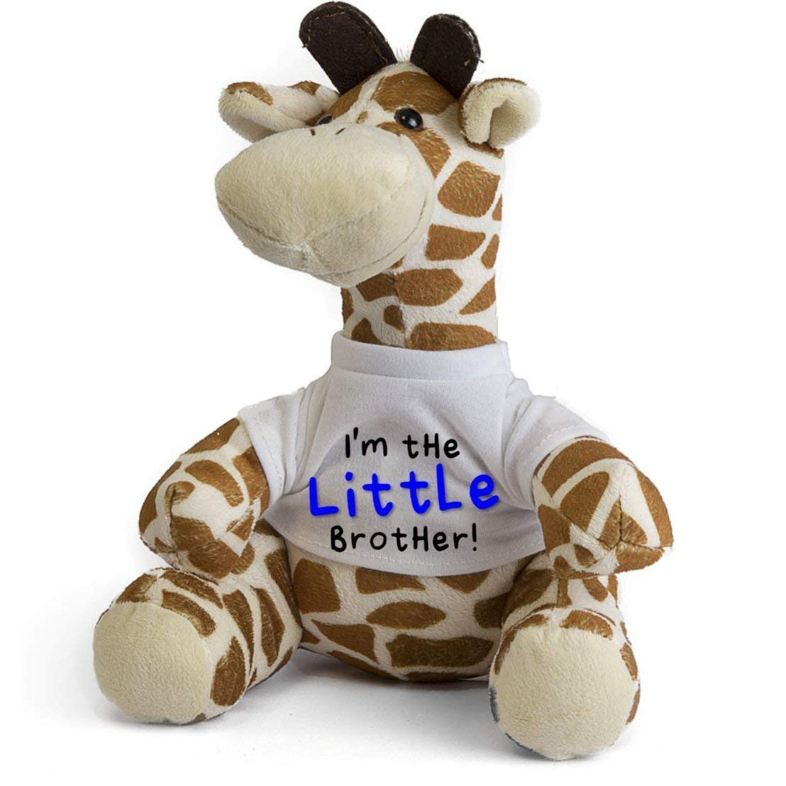 Im the Little Brother Giraffe Teddy Personalise with Name on Rear New Baby Sibling Gift