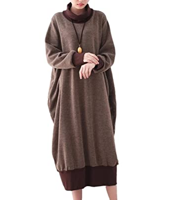 Yesno JY5 Women Long Casual T Shirts Loose Fit Sweatshirts Warm Baggy Dress Turtleneck Long Sleeve