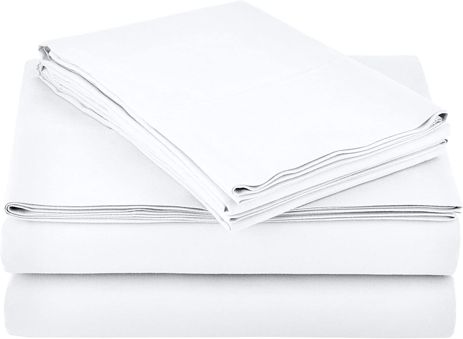 Ras Décor Linen Sheets for Motorhomes & Camper Beds,RV Sheets 72x75 Short King,Fit up to 8 Inch Deep 100% Cotton, White - 4 Piece Sheet Set