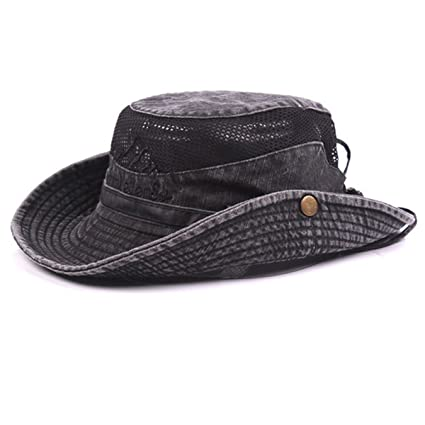 381a4b0d14d Mens Cotton Embroidery Bucket Hats Fisherman Hat Outdoor Climbing Mesh  Breathable Sunshade Cap (Black)