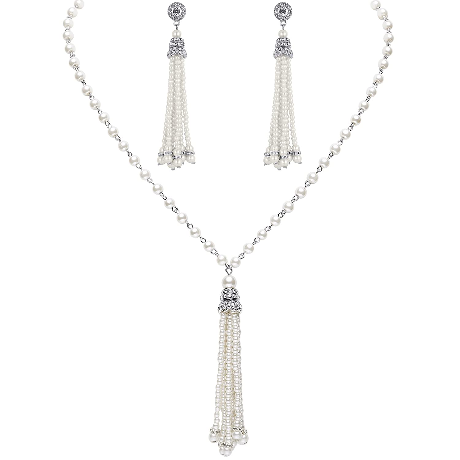 Vintage Style Jewelry, Retro Jewelry BABEYOND 1920s Bridal Pearl Tassel Necklace Earrings Set 20s Vintage Wedding Jewelry Set Gatsby Imitation Pearl Necklace Pearl Tassel Earrings Set $17.99 AT vintagedancer.com