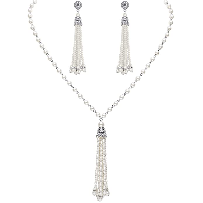 BABEYOND 1920s Bridal Pearl Tassel Necklace Earrings Set 20s Vintage Wedding Jewelry Set Gatsby Imitation Pearl Necklace Pearl Tassel Earrings Set