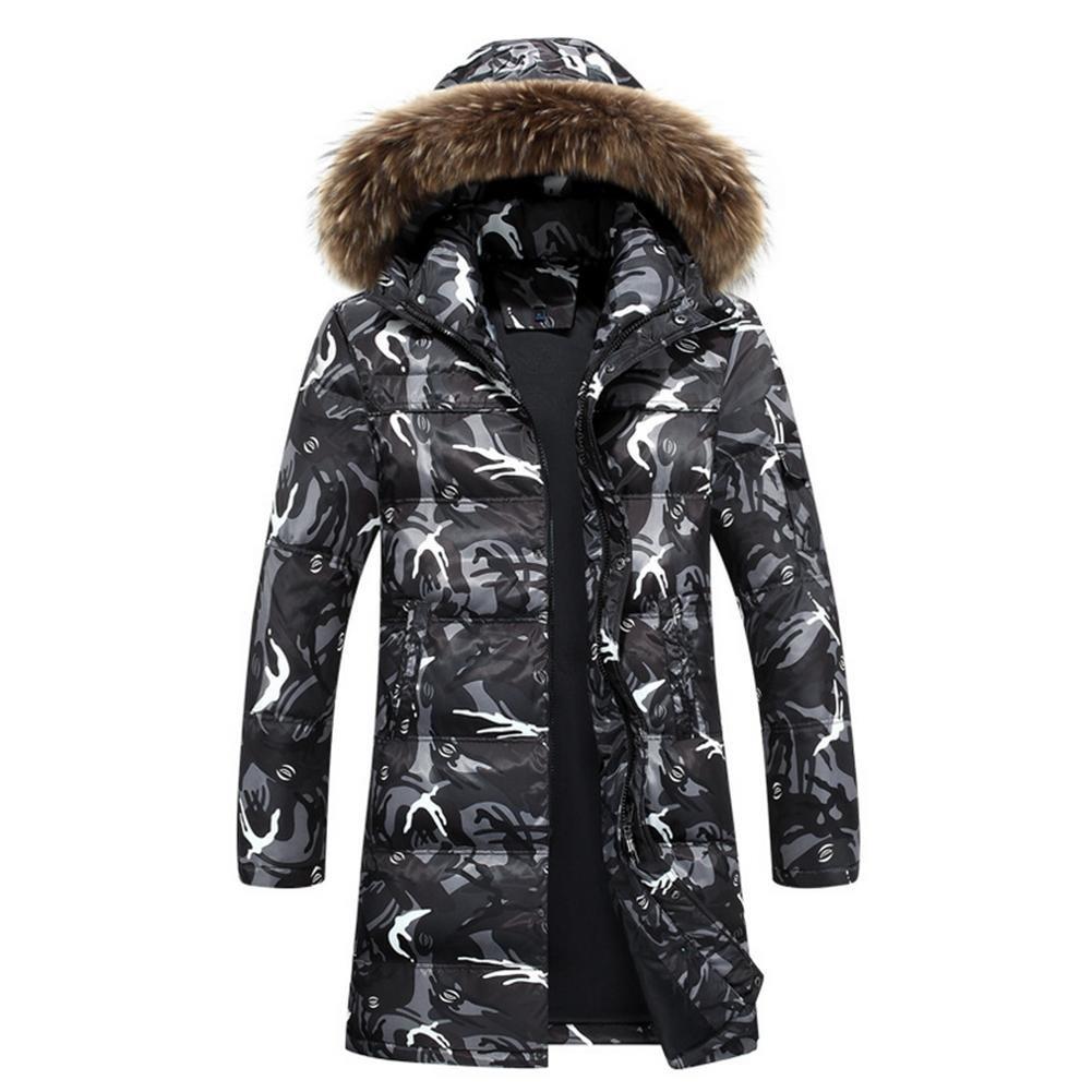noir XL YANXH Hiver Les Nouveaux Hommes Longue Section vers Le Bas veste Keep Warm Manteau à Capuchon