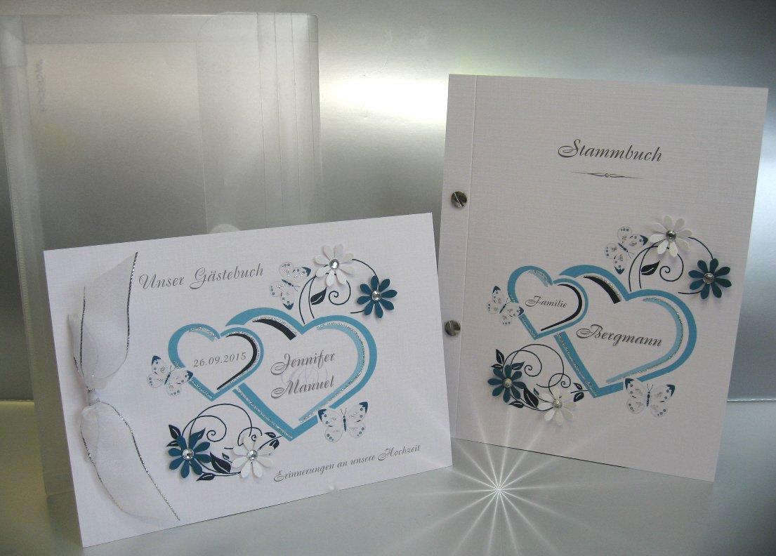 Gästebuch zur Hochzeit + Stammbuch +Tasche im Set 10000 türkis