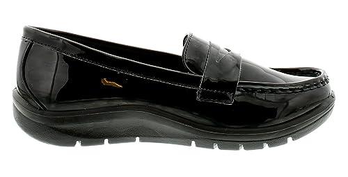 Mujer sin Cordones Charol Mocasines Estilo Zapato con bajo Plataforma Suela Unidad Grueso Resistente Suela Perfecta para el Colegio, Trabajo o Uni - Negro ...