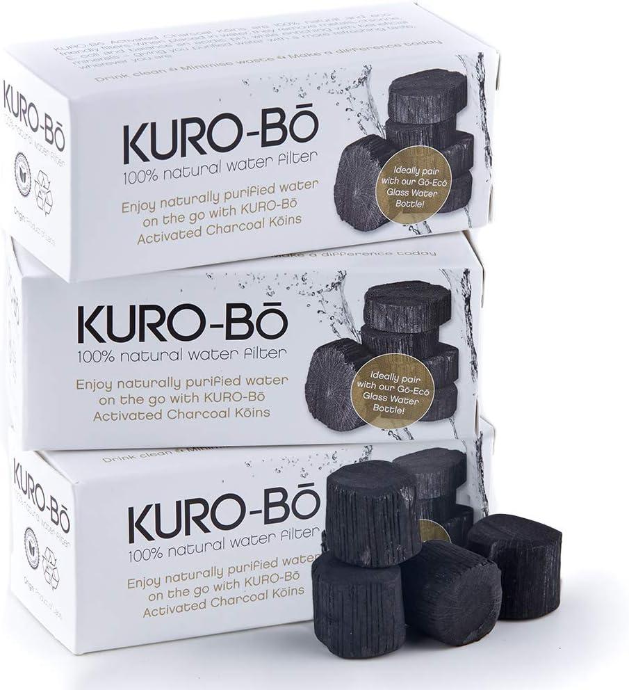 Kuro-bo Binchotan Charcoal Water Bottle Filter Stick Koins | Filters Up To 32 fl. oz | 3-pack