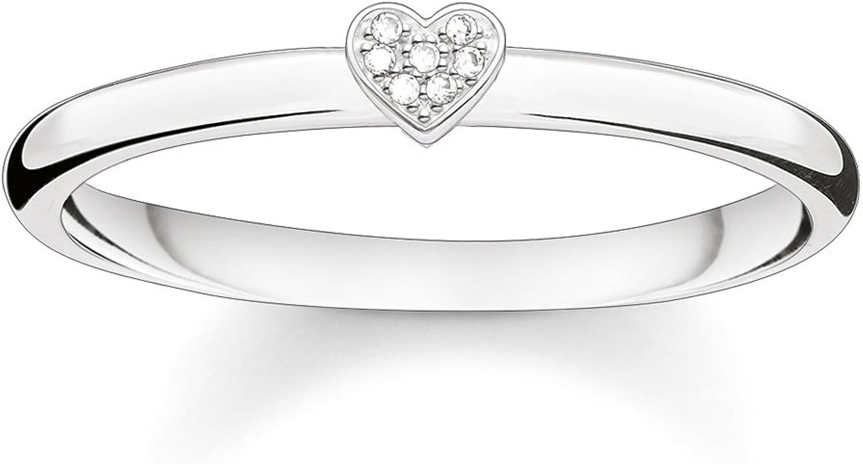 Thomas Sabo Mujer Anillo Corazón 925plata de ley blanco diamante pave D _ tr0014–725–14, Plata-esterlina, silver, white, 48