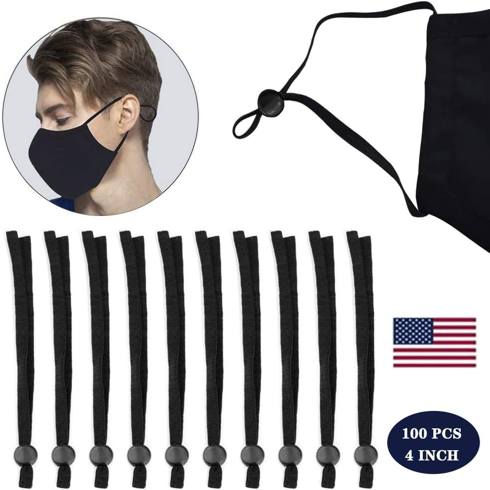 Black Neo LOONS 100 Pieces Elastic Bands with Adjustable Round Buckle Adjustable Face Earloop Cor for DIY Crafts Sewing Making